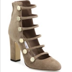 JIMMY CHOO Venice Strappy Suede Booties Sz 38